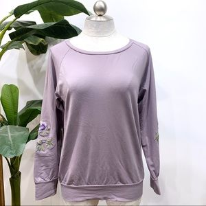 Easel Lilac Sweatshirt with Floral Embroidery